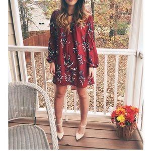 Maroon flowy dress